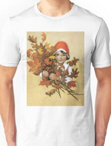 Jessie Willcox Smith - Girl With Fall Leaves. Child portrait: cute baby, kid, children, pretty angel, child, kids, lovely family, boys and girls, boy and girl, mom mum mammy mam, childhood Unisex T-Shirt