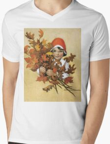 Jessie Willcox Smith - Girl With Fall Leaves. Child portrait: cute baby, kid, children, pretty angel, child, kids, lovely family, boys and girls, boy and girl, mom mum mammy mam, childhood Mens V-Neck T-Shirt