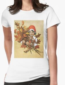 Jessie Willcox Smith - Girl With Fall Leaves. Child portrait: cute baby, kid, children, pretty angel, child, kids, lovely family, boys and girls, boy and girl, mom mum mammy mam, childhood Womens Fitted T-Shirt