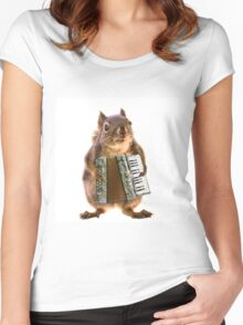Squirrel Playing an Accordion Women's Fitted Scoop T-Shirt