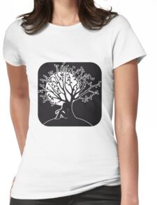 full moon melancholy romanticism tree Womens Fitted T-Shirt