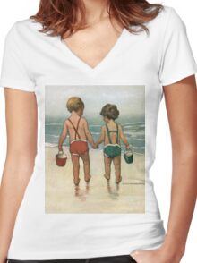 Jessie Willcox Smith - Hand In Hand On The Beach. Child portrait: cute baby, kid, children, pretty angel, child, kids, lovely family, boys and girls, boy and girl, mom mum mammy mam, childhood Women's Fitted V-Neck T-Shirt
