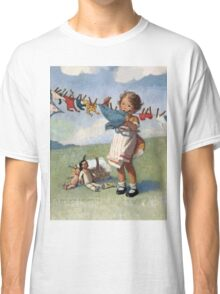 Jessie Willcox Smith - Hanging Doll Clothes On A Windy Day. Child portrait: cute baby, kid, children, pretty angel, child, kids, lovely family, boys and girls, boy and girl, mom mum mammy mam, Classic T-Shirt