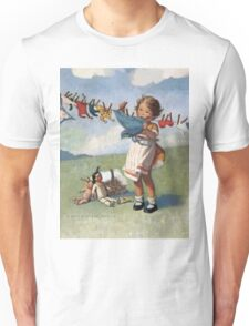 Jessie Willcox Smith - Hanging Doll Clothes On A Windy Day. Child portrait: cute baby, kid, children, pretty angel, child, kids, lovely family, boys and girls, boy and girl, mom mum mammy mam, Unisex T-Shirt