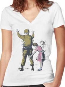 Banksy West Bank  Women's Fitted V-Neck T-Shirt