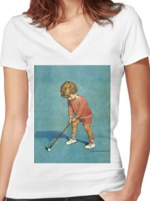 Jessie Willcox Smith - I Can Play Golf!. Child portrait: cute baby, kid, children, pretty angel, child, kids, lovely family, boys and girls, boy and girl, mom mum mammy mam, childhood Women's Fitted V-Neck T-Shirt