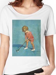 Jessie Willcox Smith - I Can Play Golf!. Child portrait: cute baby, kid, children, pretty angel, child, kids, lovely family, boys and girls, boy and girl, mom mum mammy mam, childhood Women's Relaxed Fit T-Shirt