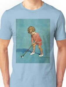 Jessie Willcox Smith - I Can Play Golf!. Child portrait: cute baby, kid, children, pretty angel, child, kids, lovely family, boys and girls, boy and girl, mom mum mammy mam, childhood Unisex T-Shirt