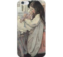Jessie Willcox Smith - I Love My Doll. Child portrait: cute baby, kid, children, pretty angel, child, kids, lovely family, boys and girls, boy and girl, mom mum mammy mam, childhood iPhone Case/Skin