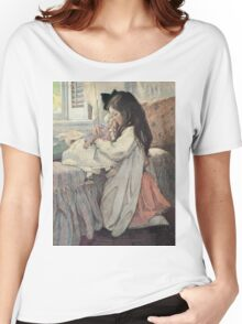 Jessie Willcox Smith - I Love My Doll. Child portrait: cute baby, kid, children, pretty angel, child, kids, lovely family, boys and girls, boy and girl, mom mum mammy mam, childhood Women's Relaxed Fit T-Shirt