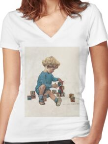 Jessie Willcox Smith - Little Boy Playing With Blocks. Child portrait: cute baby, kid, children, pretty angel, child, kids, lovely family, boys and girls, boy and girl, mom mum mammy mam, childhood Women's Fitted V-Neck T-Shirt