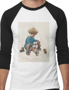 Jessie Willcox Smith - Little Boy Playing With Blocks. Child portrait: cute baby, kid, children, pretty angel, child, kids, lovely family, boys and girls, boy and girl, mom mum mammy mam, childhood Men's Baseball ¾ T-Shirt