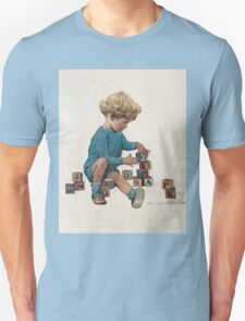 Jessie Willcox Smith - Little Boy Playing With Blocks. Child portrait: cute baby, kid, children, pretty angel, child, kids, lovely family, boys and girls, boy and girl, mom mum mammy mam, childhood Unisex T-Shirt