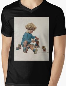 Jessie Willcox Smith - Little Boy Playing With Blocks. Child portrait: cute baby, kid, children, pretty angel, child, kids, lovely family, boys and girls, boy and girl, mom mum mammy mam, childhood Mens V-Neck T-Shirt