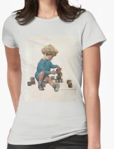 Jessie Willcox Smith - Little Boy Playing With Blocks. Child portrait: cute baby, kid, children, pretty angel, child, kids, lovely family, boys and girls, boy and girl, mom mum mammy mam, childhood Womens Fitted T-Shirt