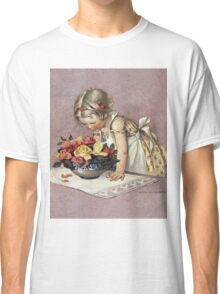 Jessie Willcox Smith - Little Girl Admiring A Bowl Of Roses. Child portrait: cute baby, kid, children, pretty angel, child, kids, lovely family, boys and girls, boy and girl, mom mum mam, childhood Classic T-Shirt