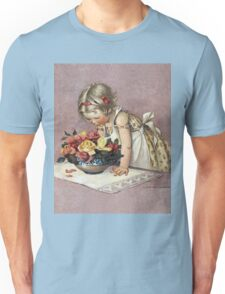 Jessie Willcox Smith - Little Girl Admiring A Bowl Of Roses. Child portrait: cute baby, kid, children, pretty angel, child, kids, lovely family, boys and girls, boy and girl, mom mum mam, childhood Unisex T-Shirt