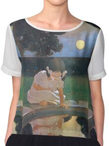 Jessie Willcox Smith - Looking At The Moon S Reflection. Child portrait: cute baby, kid, children, pretty angel, child, kids, lovely family, boys and girls, boy and girl, mom mum mammy mam, childhood Chiffon Top