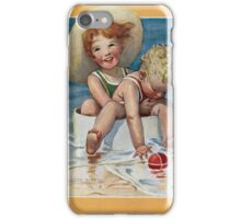 Jessie Willcox Smith - Two Children Playing In The Ocean. Child portrait: cute baby, kid, children, pretty angel, child, kids, lovely family, boys and girls, boy and girl, mom mum mammy mam, childhood iPhone Case/Skin