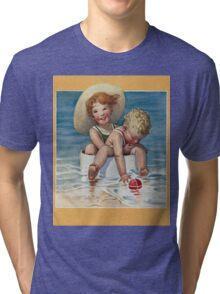 Jessie Willcox Smith - Two Children Playing In The Ocean. Child portrait: cute baby, kid, children, pretty angel, child, kids, lovely family, boys and girls, boy and girl, mom mum mammy mam, childhood Tri-blend T-Shirt
