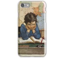 Jessie Willcox Smith - Young Boy Day Dreaming At A School Desk. Child portrait: cute baby, kid, children, pretty angel, child, kids, lovely family, boys and girls, boy and girl, mom mum mam, childhood iPhone Case/Skin