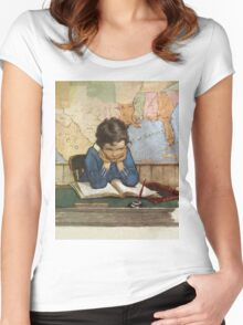 Jessie Willcox Smith - Young Boy Day Dreaming At A School Desk. Child portrait: cute baby, kid, children, pretty angel, child, kids, lovely family, boys and girls, boy and girl, mom mum mam, childhood Women's Fitted Scoop T-Shirt