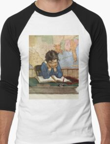 Jessie Willcox Smith - Young Boy Day Dreaming At A School Desk. Child portrait: cute baby, kid, children, pretty angel, child, kids, lovely family, boys and girls, boy and girl, mom mum mam, childhood Men's Baseball ¾ T-Shirt