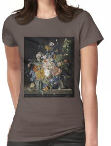 Jan Van Huysum - Poppies, Hollyhock, Morning Glory, Viola, Daisies. Still life with flowers: flowers, blossom, nature, botanical, floral flora, wonderful flower, plants, garden, vase Womens Fitted T-Shirt
