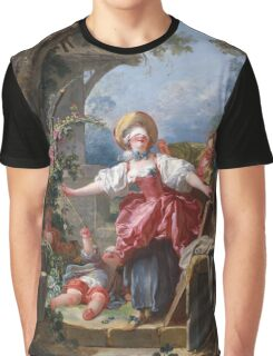 Jean-Honore Fragonard - Blind-Man's Buff. Lovers portrait: sensual woman, woman and man, kiss, kissing lovers, love relations, lovely couple, family, valentine's day, sexy, romance, female and male Graphic T-Shirt
