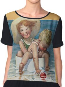 Jessie Willcox Smith - Two Children Playing In The Ocean. Child portrait: cute baby, kid, children, pretty angel, child, kids, lovely family, boys and girls, boy and girl, mom mum mammy mam, childhood Chiffon Top