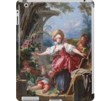 Jean-Honore Fragonard - Blind-Man's Buff. Lovers portrait: sensual woman, woman and man, kiss, kissing lovers, love relations, lovely couple, family, valentine's day, sexy, romance, female and male iPad Case/Skin