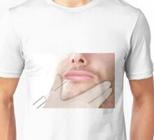 Doctor In glove giving Botox Injection on lips of a man Unisex T-Shirt