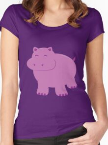 Cute Purple Hippo Women's Fitted Scoop T-Shirt