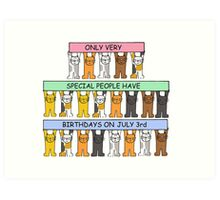 Cartoon cats celebrating July 3rd Birthday Art Print