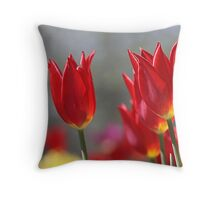 Red Tulips Pillow Throw Pillow