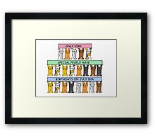Cats celebrating a July 18th Birthday. Framed Print