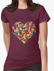 Colorful Tetris Heart Womens Fitted T-Shirt