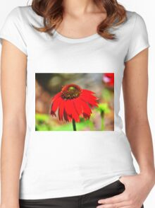 Salsa Red Coneflower Women's Fitted Scoop T-Shirt