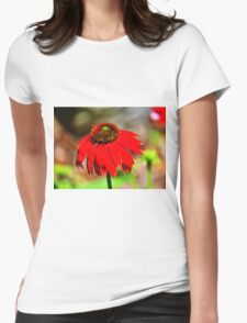Salsa Red Coneflower Womens Fitted T-Shirt