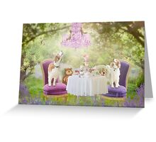 Welshie tea party in the woods Greeting Card