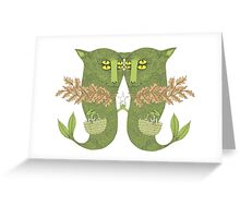 Mutant Catfish Twins Collecting Starfish Greeting Card