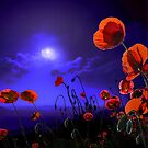 Red Poppy Blue Pillow by Igor Zenin