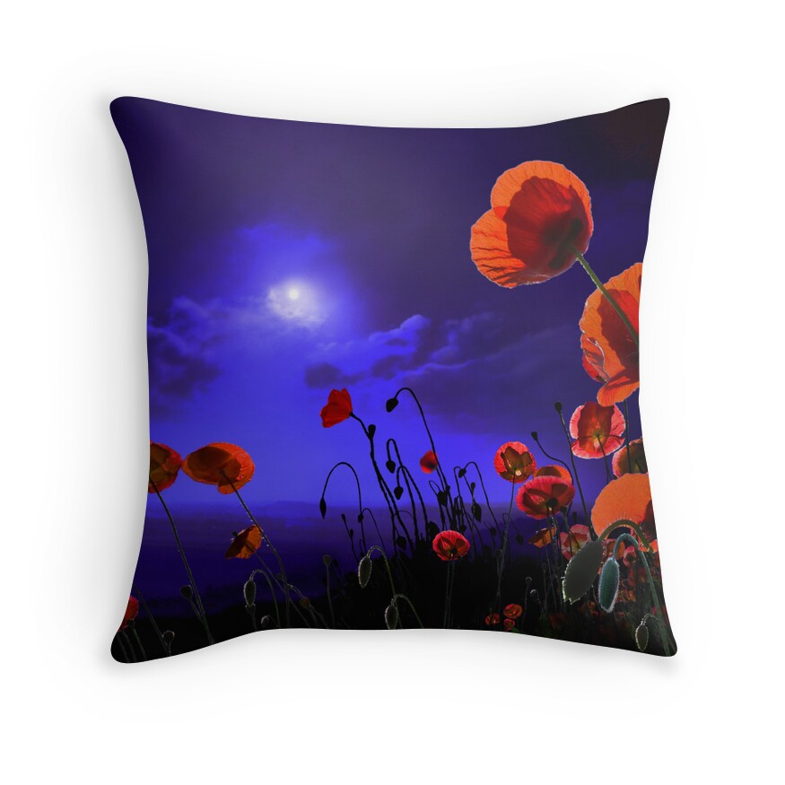 Red Poppy Decorative Pillow :