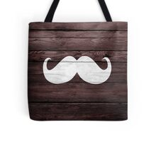 Funny Mustache on Wood Texture Tote Bag