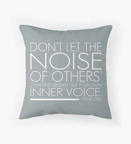 Inspirational Quote by Steve Jobs (Gray) Throw Pillow