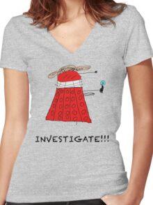 Dalek Investigate Women's Fitted V-Neck T-Shirt