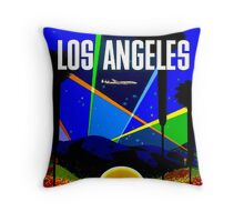 """TWA"" Fly to Los Angeles Travel Print Throw Pillow"