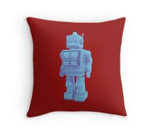 Blue Robot Throw Pillow
