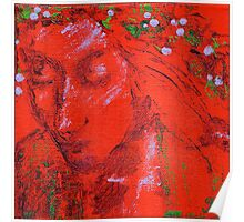 Red Beauty Acrylic Painting Poster