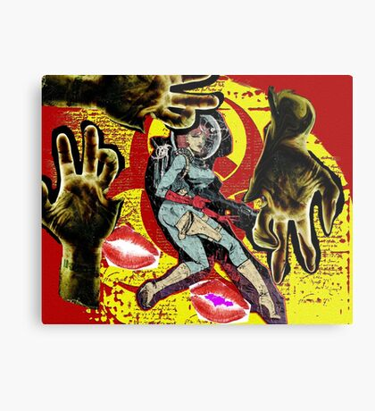 Space zombie graphic novel design Metal Print